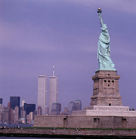 Statue Of Liberty and Twin Towers Before 9/11